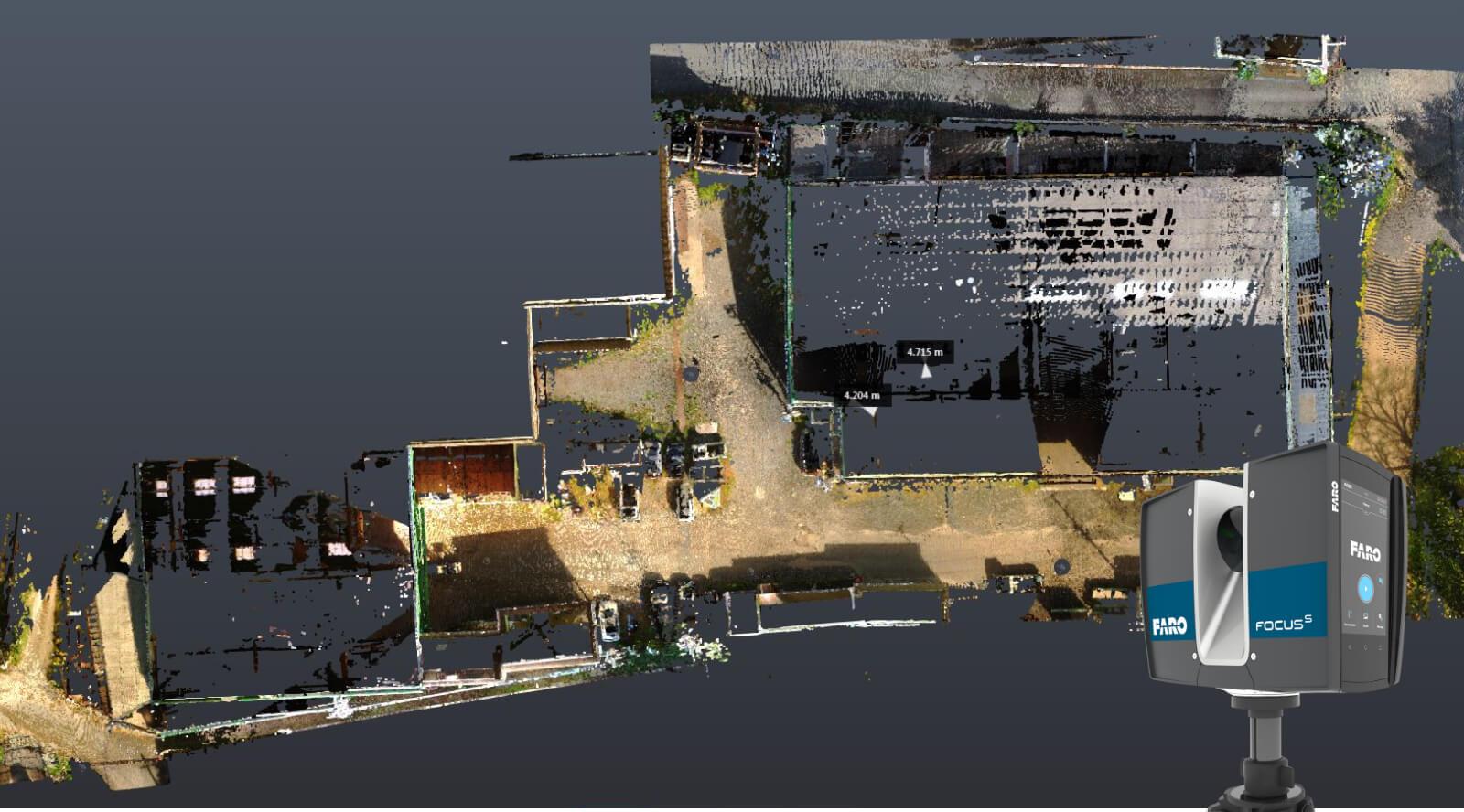 広い工場でも短時間の作業で3Dデータを撮ることができます。