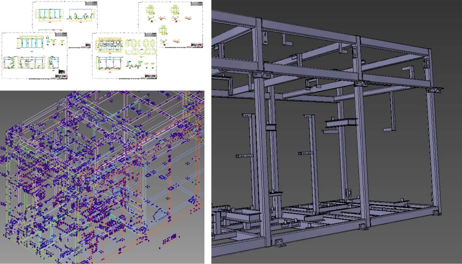 装置ラック2Dから3Dモデリング化